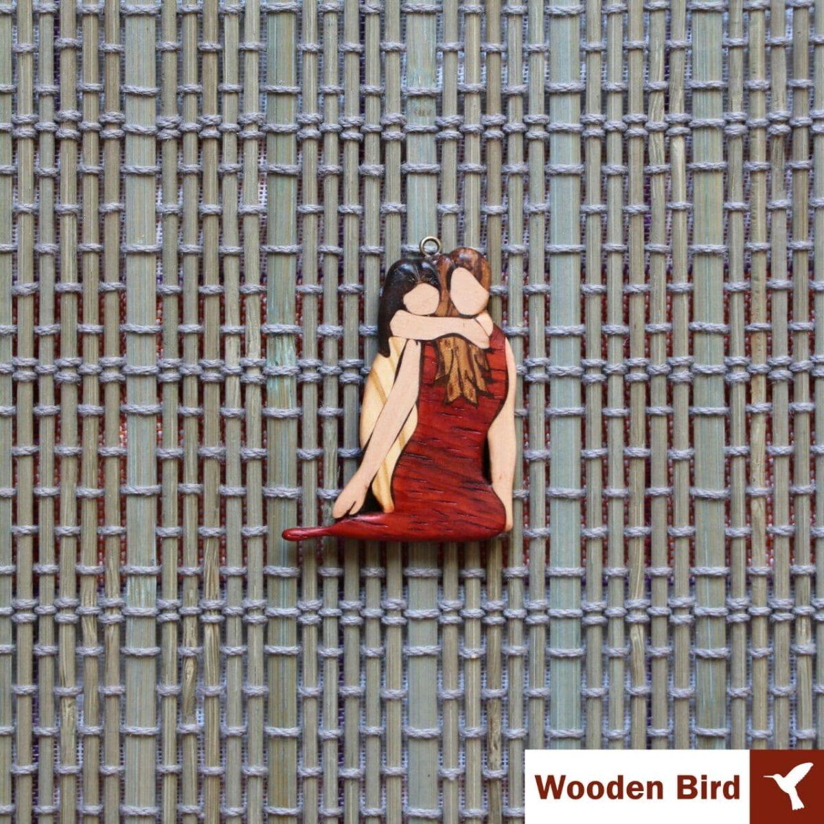 گردنبند مادر دختری چوبی معرق
