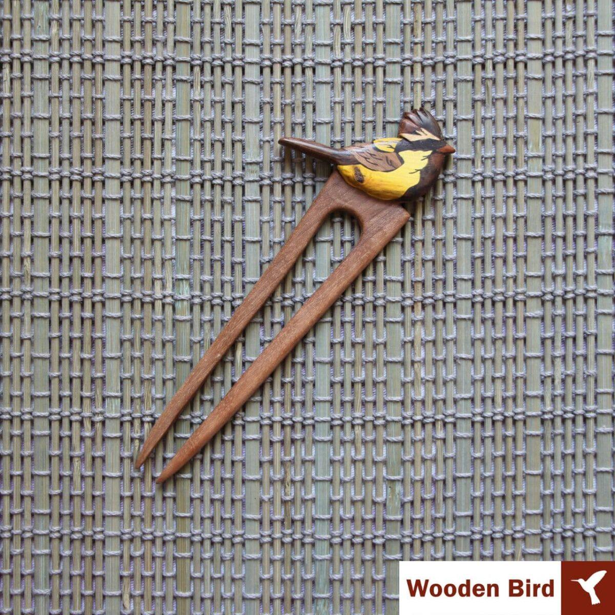 گیره مو پرنده چوبی معرق