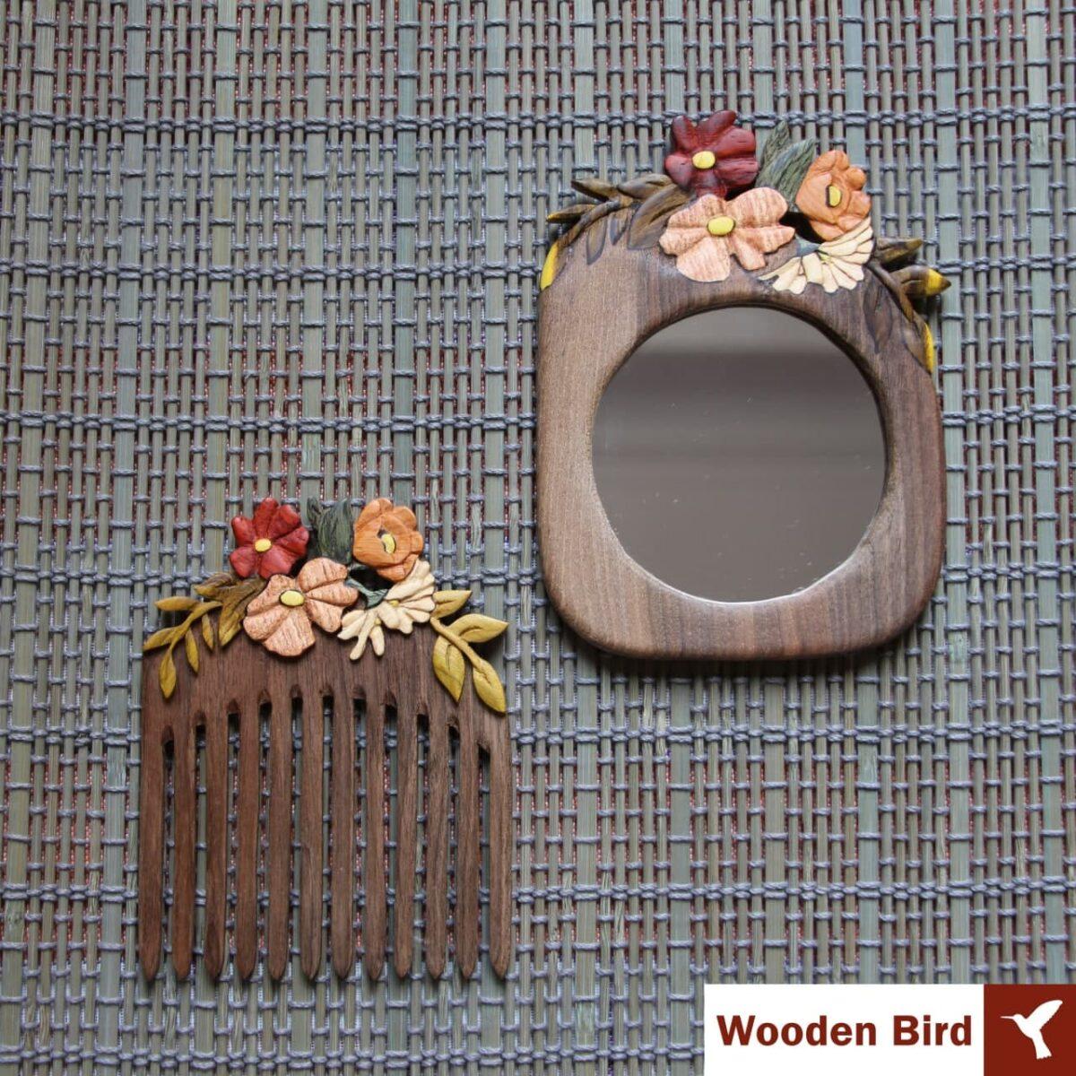 ست شانه و آینه و قاب عکس چوبی