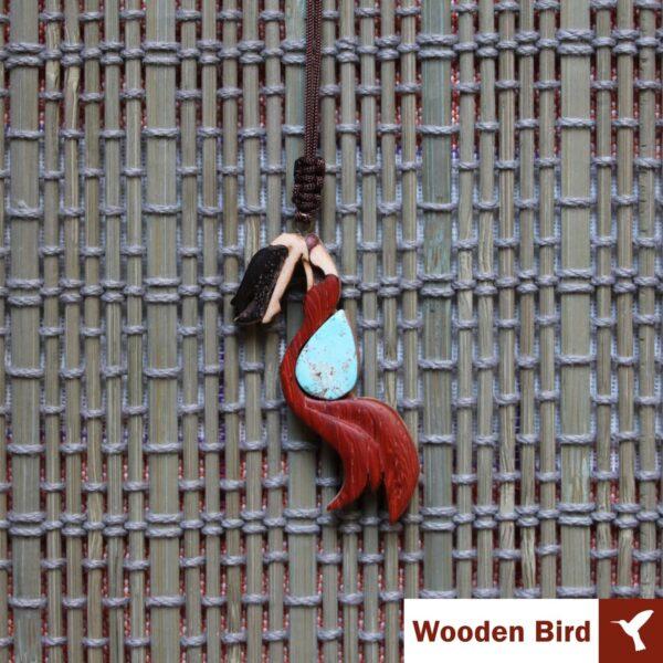 گردنبند طرح پری دریایی چوبی