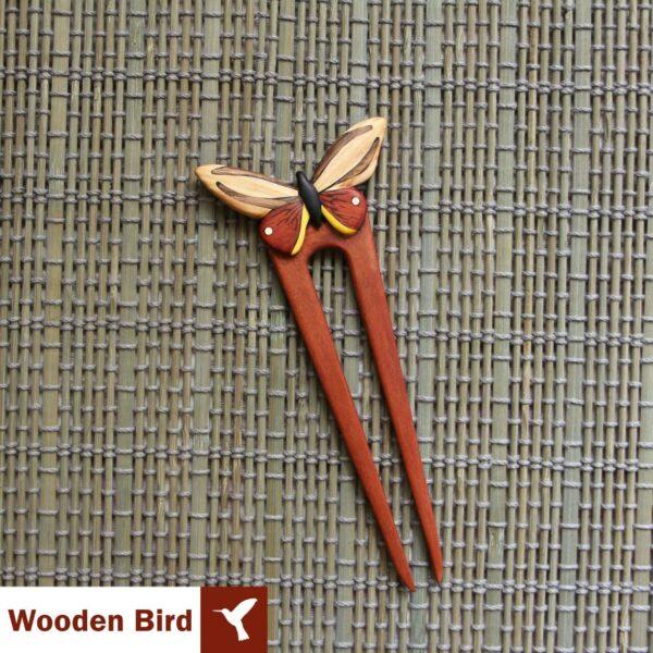 گیره مو طرح پروانه چوبی